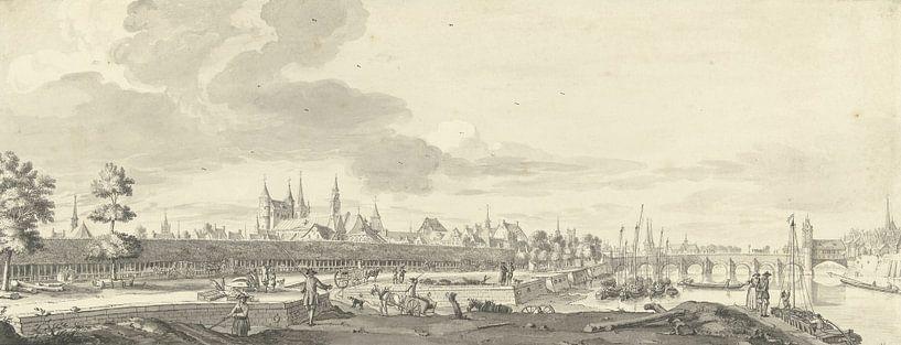 Blick auf die Fledermaus und die Maasbrücke in Maastricht, Jan de Beijer, 1713 - 1780. von Meesterlijcke Meesters