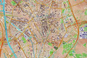 Kleurrijke kaart Utrecht van