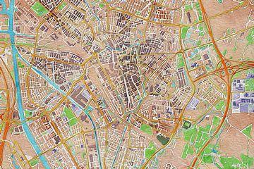 Kleurrijke kaart Utrecht van Stef Verdonk