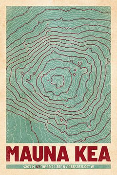 Mauna Kea | Landkarte Topografie (Retro) von ViaMapia