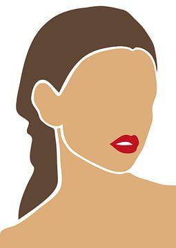Vrouw met vuurrode lippen van Eline Willekens