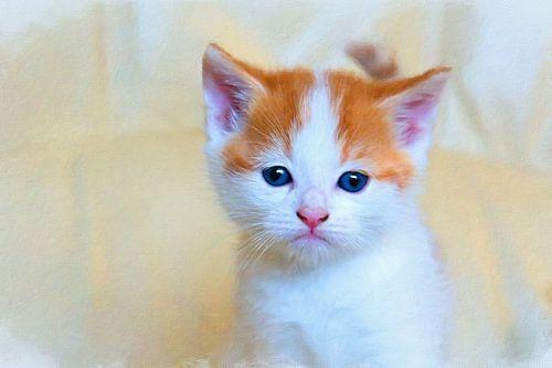 Abstract werk van een rood kitten van
