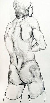 Zeichnung des Rückens eines Mannes. von Therese Brals