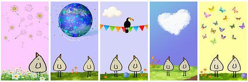 Kippenvogel Collage 6 van Marion Tenbergen