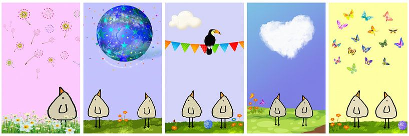 Piepvogel Collage 6 von Marion Tenbergen