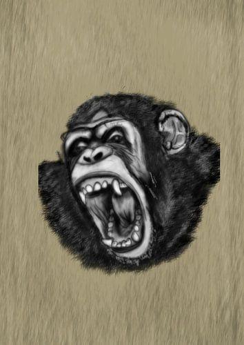 Een schreeuwende chimpansee aap