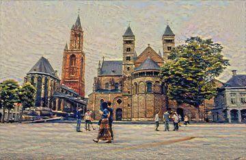 Middeleeuws Maastricht: Sint Servaasbasiliek en Sint-Janskerk op het Vrijthof van Slimme Kunst.nl