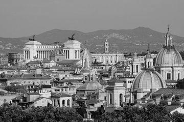Aussicht auf Rom schwarz-weiss von Rico Heuvel