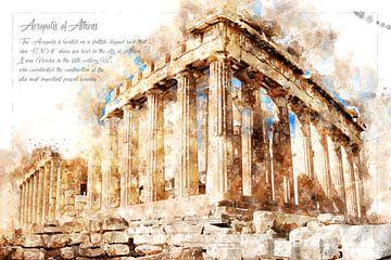 Acropolis, aquarel, Athene van Theodor Decker