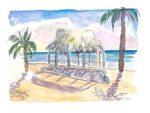 Tropische Tiki-Strandhütte auf den Fidschi-Inseln von Markus Bleichner