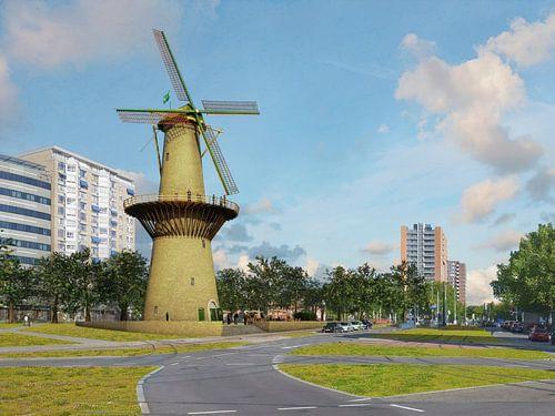 Molen de Noord, herrezen op het Oostplein, Rotterdam van