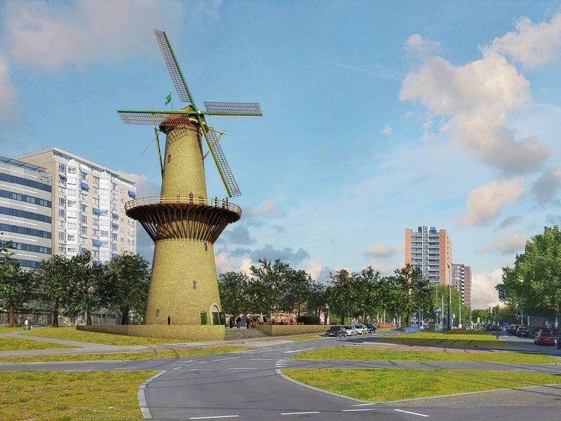Molen de Noord, herrezen op het Oostplein, Rotterdam van Frans Blok