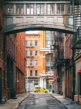Brug tussen twee gebouwen in Staple Street, Tribeca, Lower Manhattan, New York City