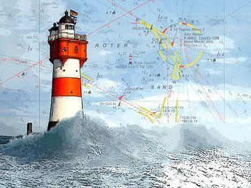 Leuchtturm Roter Sand und Seekarte von Dirk H. Wendt