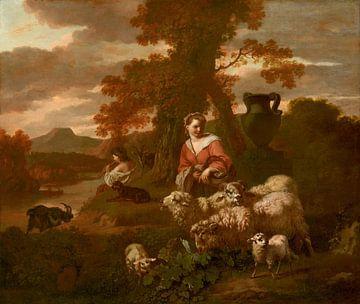 Herderin en herderin met schapen en geiten, Simon van der Does, Simon van der Does van