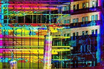 Kleurrijke gevels aan de Potsdamer Platz in Berlijn
