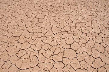 Gebarsten klei in droge rivierbedding van Peter Mooij