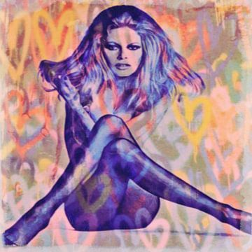 Motiv Brigitte Portrait Bardot Sexy Yellow - Love Pop Art von Felix von Altersheim