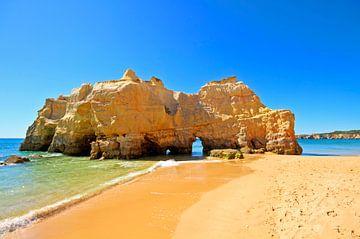 Rotsformatie bij Praia da Rocha in de Algarve Portugal van Nisangha Masselink