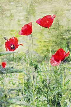 Coquelicots dans le champ (peinture) sur Art by Jeronimo