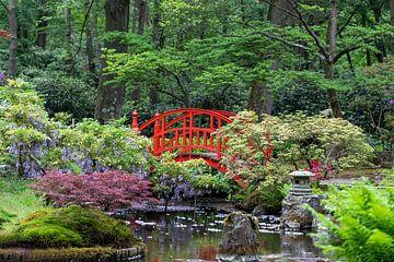 Rode japanse brug - Japanse tuin (5) van Marly De Kok