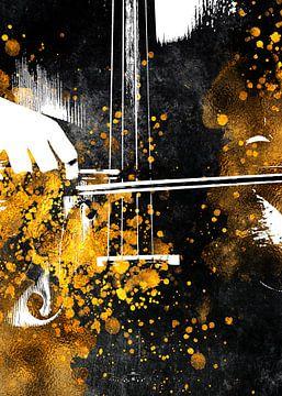 Violoncello 3 muziekkunst goud en zwart #violoncello #muziek van JBJart Justyna Jaszke