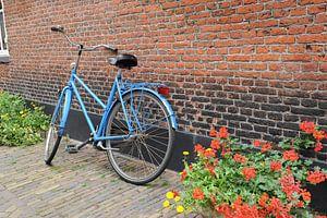 Blauwe fiets tegen muur met geraniums