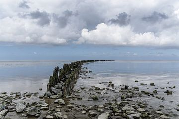 Golfbreker bij de Waddenzee. van