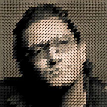 Bono U2, silhouet gemaakt van punten van Color Square
