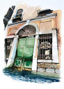 Oude poort in Venetië - Aquarel schilderij van - Wereldkaarten.shop -