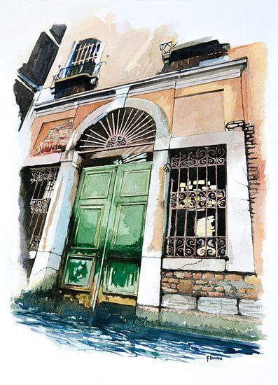 Oude poort in Venetië - Aquarel schilderij