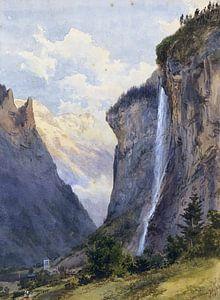 Der Staubbachfall in Lauterbrunnen (Schweiz), EDWARD THEODORE COMPTON, 1869