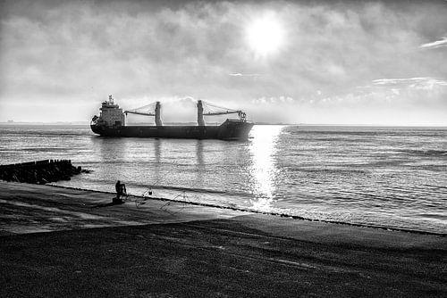 Een schip gaat buitengaats. van Don Fonzarelli