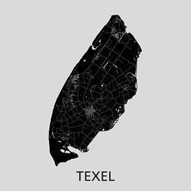 Carte Texel | Gris | Cercle mural sur Wereldkaarten.Shop