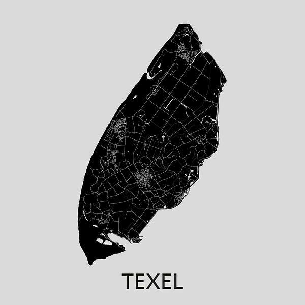 Texel Landkaart | Grijs | Wandcirkel van Wereldkaarten.Shop