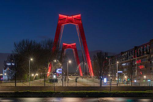 De Willemsbrug in Rotterdam in de nacht (horizontaal)