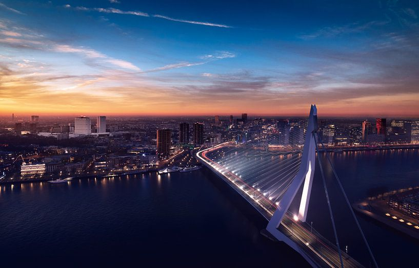 Zonsondergang over Erasmusbrug Rotterdam van Ronne Vinkx