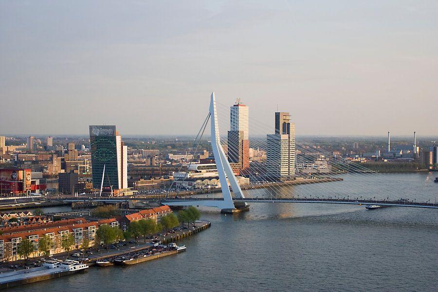 Rotterdam met erasmus brug en Noorder Eiland