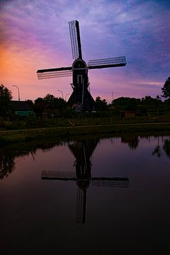Windmolen tijdens zonsopkomst, Leerdam van Nynke Altenburg