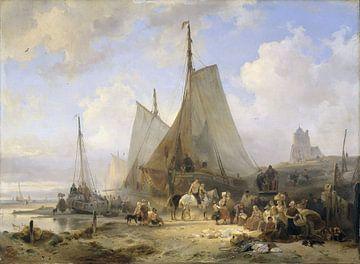 Bateaux de pêche sur la plage avec des pêcheurs et des femmes triant les prises, Wijnand Nuijen sur