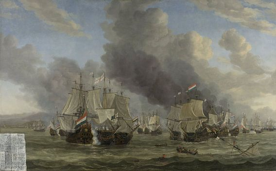 VOC Zeeslag schilderij: Slag bij Livorno, Reinier Nooms, 1653 - 1664 van Schilderijen Nu