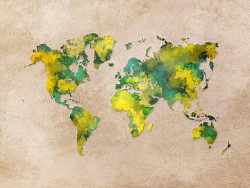 Weltkarte gelb grün #Karte von JBJart Justyna Jaszke