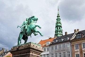 Statue and buildings in the city Copenhagen van Rico Ködder