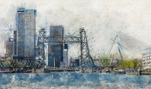 Aquarell mit Skizze von Rotterdam mit De Hef