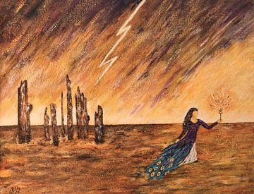 Fantasy-Gemälde mit einer Frau, Blitz und Baumstämmen