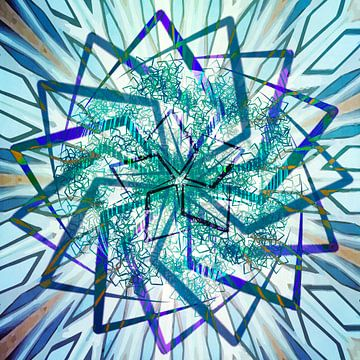 Ster mandala, blauw van Rietje Bulthuis