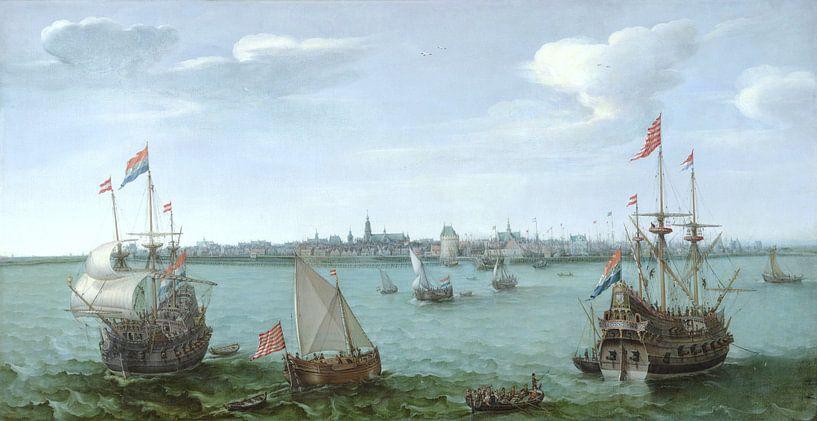 Gezicht op Hoorn van Hendrick Cornelisz Vroom sur Schilders Gilde