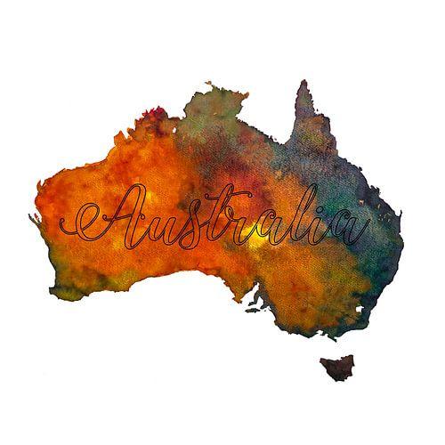 Australië - Landkaart in aquarel - Typografie - Outline