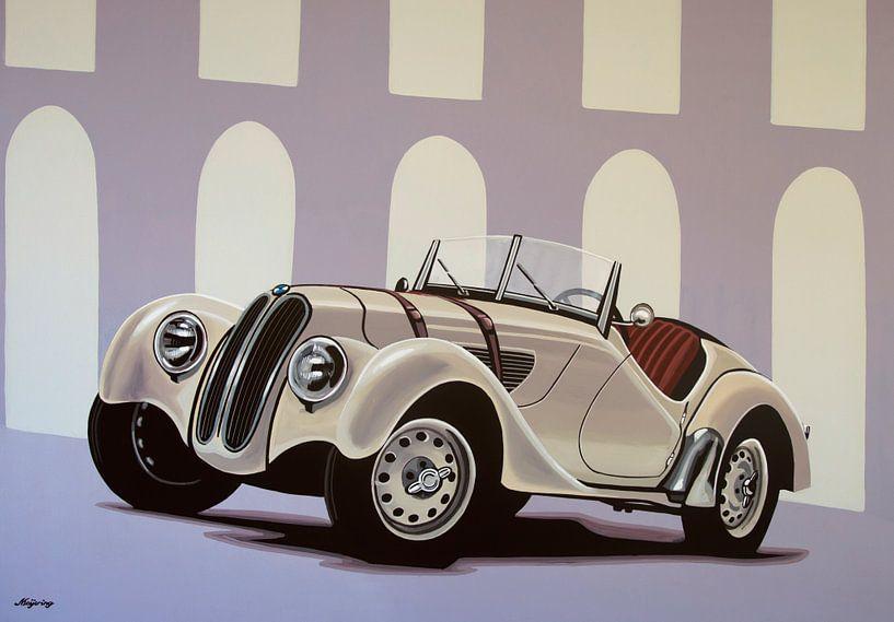 BMW 328 Roadster 1936 Schilderij van Paul Meijering