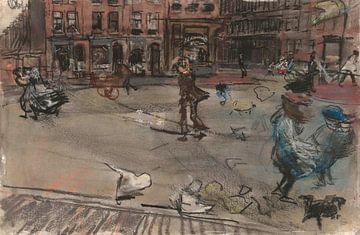 Windvlaag op het Dapperplein in Amsterdam, Isaac Israels